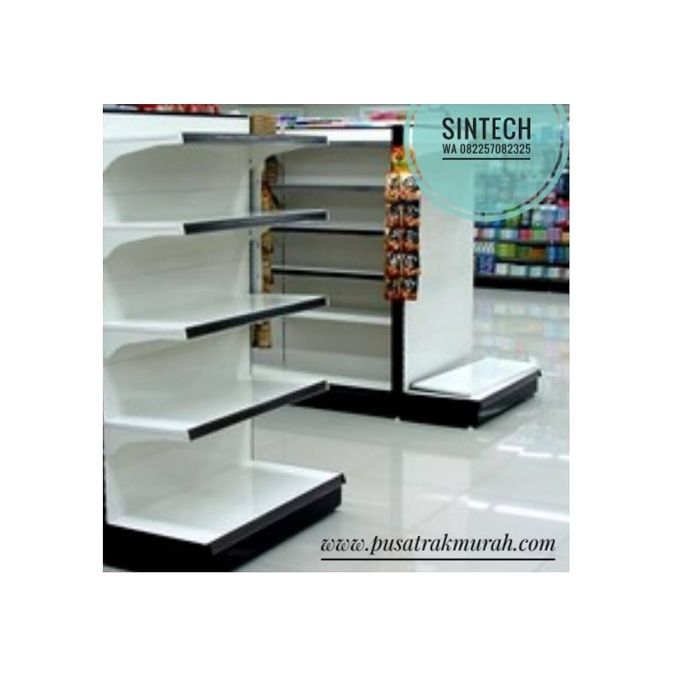 Rak Supermarket/Minimarket backpanel putih tiang hitam
